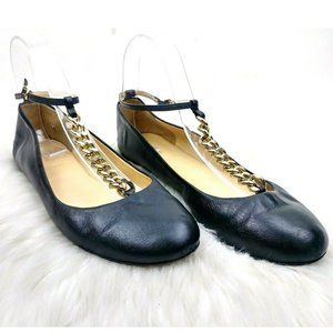 J.Crew Leather Chain Detail Round Toe Mary Janes